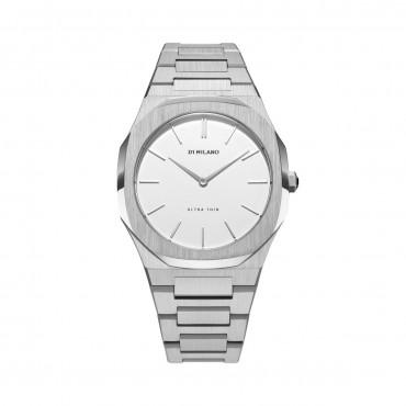 Orologio Donna D1 Milano Silver / EGGSHELL Ultra Thin Al Quarzo 38mm cassa Silver quadrante Bianco cinturino in Acciaio