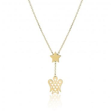 Collana donna Roberto Giannotti in Oro Giallo con pendente angelo e stella collezione Angeli 42-45cm - NKT281