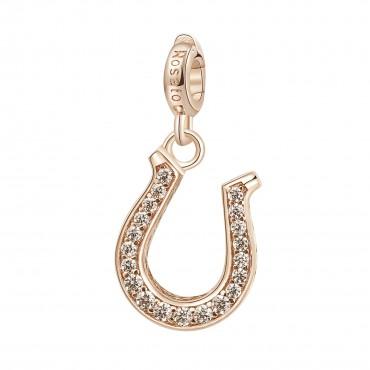 Ferro di Cavallo Charm Rosato in argento 925, galvanica oro rosa, 20 zirconi bianchi