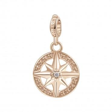 Rosa dei Venti Charm Rosato in argento 925‰, galvanica oro rosa, 2 zirconi bianchi