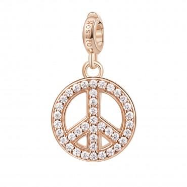 Pace Charm Rosato in argento 925‰, galvanica oro rosa, smalto bianco, 39 zirconi bianchi