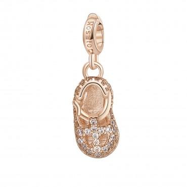 Scarpina Charm Rosato in argento 925‰, galvanica oro rosa, smalto bianco, 51 zirconi bianchi