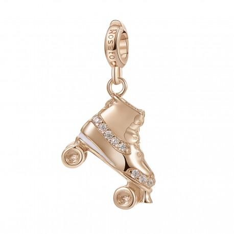 Pattino Charm Rosato in argento 925‰, galvanica oro rosa, smalto bianco, 20 zirconi bianchi