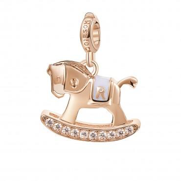 Cavallucio a Dondolo Charm Rosato in argento 925‰, galvanica oro rosa, smalto bianco, 22 zirconi bianchi