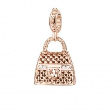 Hand Bag Charm Rosato in argento 925‰, galvanica oro rosa, 4 zirconi bianchi