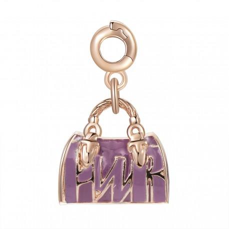 Bauletto Charm Rosato in argento 925‰, galvanica oro rosa, smalti rosa