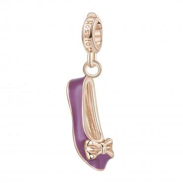 Ballerina Charm Rosato in argento 925‰, galvanica oro rosa, smalto rosa e bianco