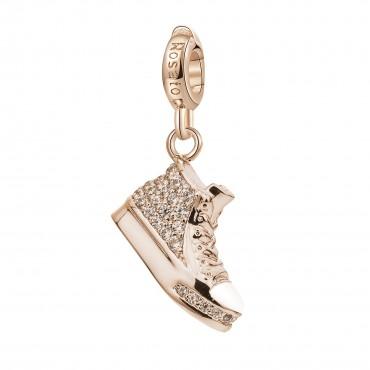 Sneakers Charm Rosato in argento 925‰, galvanica oro rosa, smalto rosa, zirconi bianchi