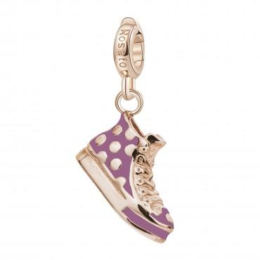 Sneakers Charm Rosato in argento 925‰, galvanica oro rosa, smalto rosa e bianco