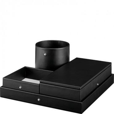 Set scrivania ufficio Unisex Montblanc vaschetta multifunzione in Pelle di vitello colore Nero 124029