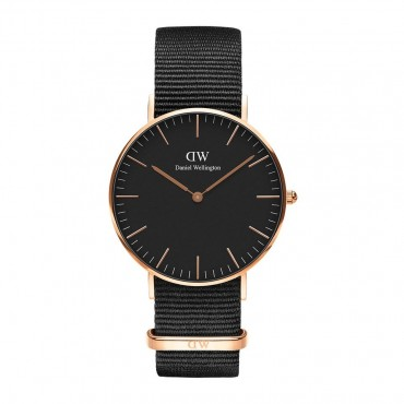 Orologio donna Daniel Wellington Classic Cornwall cassa 36mm Rose Gold quadrante Nero cinturino in NATO Nero