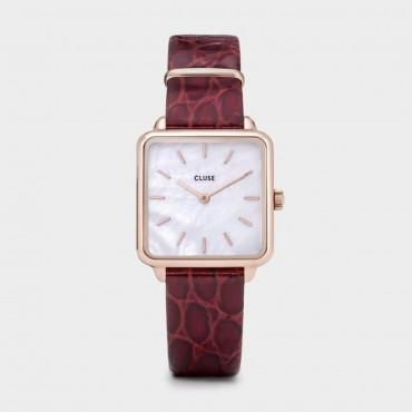 Orologio Cluse Donna Alligator La Tetragone Al quarzo cassa 28.5mm Oro rosa Rose gold quadrante Bianco perla cinturino in Pelle