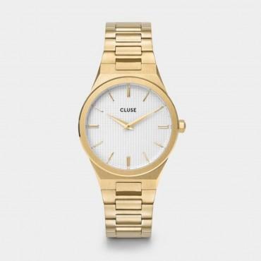 Orologio Cluse Donna Snow White Vigoreux Al quarzo cassa da 33mm Oro / Gold in Acciaio quadrante Bianco cinturino in Acciaio