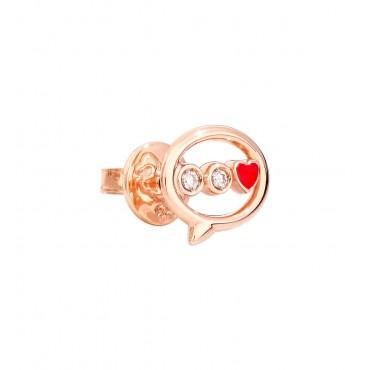Orecchino Donna DoDo in Oro Rosa Messaggio e Diamanti smaltato rosso -  DOHLTT/9/B/RO