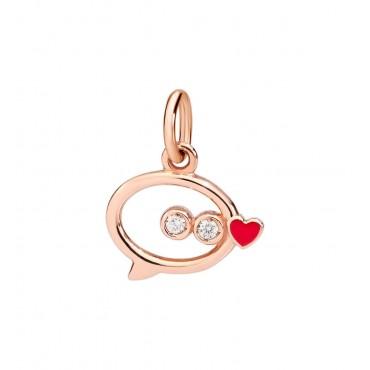 Ciondolo Donna DoDo in Oro Rosa Messaggio e Diamanti smaltato rosso -  DMLTT/9/B/RO