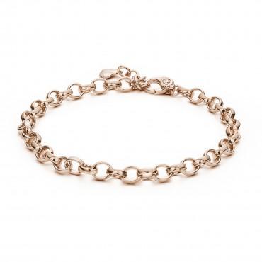 Bracciale catena forzatina componibile in argento, oro rosa