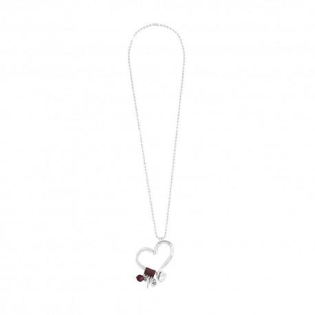 Collana donna handmade Unode50 in Argento Flechazo pendente cuore collezione Clasicos plata-cuero 50cm