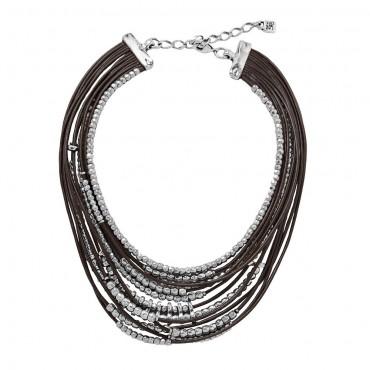 Collana donna handmade Unode50 in Cuoio Omariba collezione Masai 16-20cm - COL1217MARMTL0U