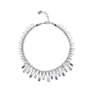 Collana donna Unode50 in Argento Little Nightbird collezione Japan e Cristalli Swarovski Azzurri 28-24cm - COL1451AZUMTL0U