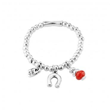 Bracciale donna Unode50 in Argento Amuleto charm cristallo rosso lucchetto e ferro di cavallo Navy M-15,7cm - PUL1823ROJMTL0M