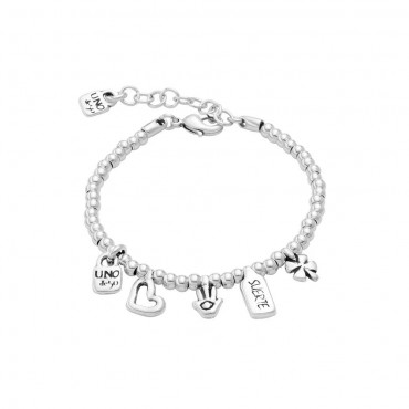 Bracciale donna handmade Unode50 in Argento Give Me 5 charm mano cuore lucchetto collezione My luck M-15-17cm - PUL1855MTL0000M