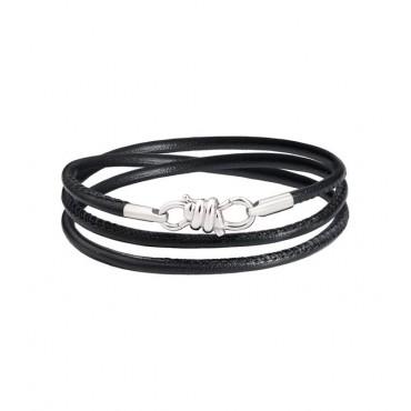 Bracciale Nodo in Oro Bianco 18 Kt e Cinturino in Pelle Nero - DoDo