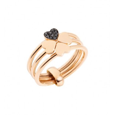 "Anello in Oro Rosa 9 Kt e Diamanti Black Trattati ""Lucky in Love"" - DoDo"