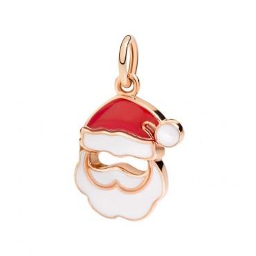 Ciondolo Babbo Natale in Oro Rosa 9 Kt Smalto Rosso e Bianco - DoDo