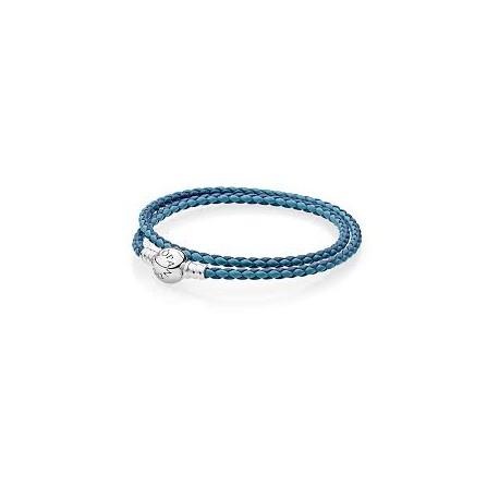 Bracciale Pandora in Pelle Azzurro