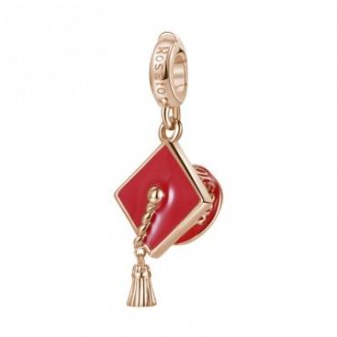 Cappello Laurea Charm Rosato in argento 925‰, galvanica oro rosa, smalto rosso