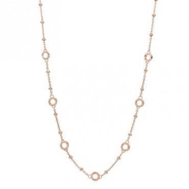 Collana catena forzatina con palline componibile in argento, oro rosa e 7 ciambelline