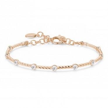 Bracciale componibile in argento oro rosa e 9 zirconi bianchi