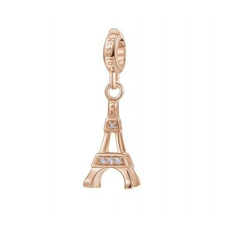 Torre Eiffel Charm Rosato in argento 925‰, galvanica oro rosa, 16 zirconi bianchi