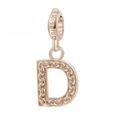Lettera D Charm Rosato in argento 925‰, galvanica oro rosa