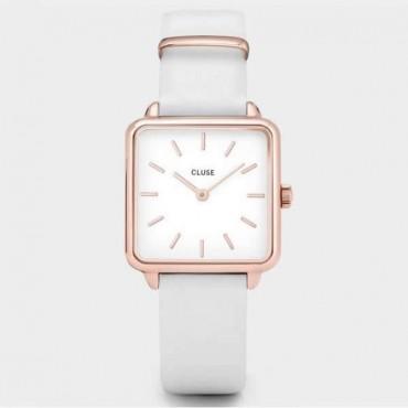 Orologio Donna Cluse La Tetragone Quarzo 28,5 cassa rose gold e quadrante bianco cinturino in pelle bianco
