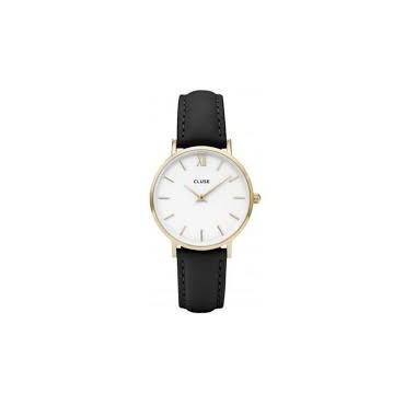 Orologio Donna Cluse Minuit 3 Quarzo 33mm cassa Oro Giallo Quadrante Bianco Cinturino in Pelle Nero