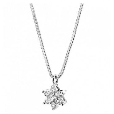 Collana Comete Gioielli Collezione Rose di Diamanti in Oro Bianco e Diamanti P.Ct 9