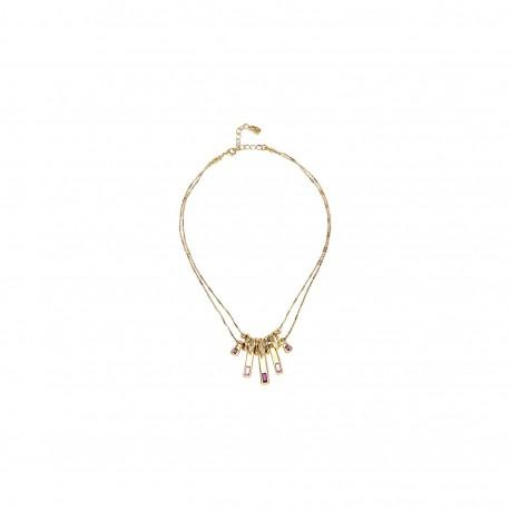 Collana donna Unode50 A TICKLE WITH A FEATHER collezione Japan in oro giallo e cristalli rossi SWAROVSKI