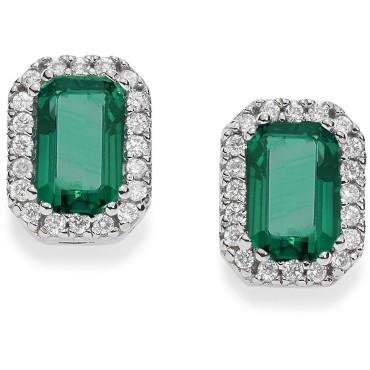 Orecchini Comete in Oro Bianco, Diamanti e Smeraldi Collezione Classic Diamanti , Punti Di Carato: 20. Smeraldo Punti Di Carato