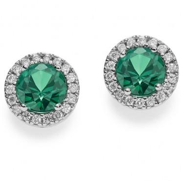 Orecchini Comete in Oro Bianco, Diamanti e Smeraldi Collezione Classic Diamanti , Punti Di Carato: 18  Smeraldo Punti Di Carato