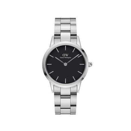 Orologio donna Daniel Wellinghton Iconic Link cassa 32mm in acciaio, quadrante nero e cinturino bracciale a maglie Silver.