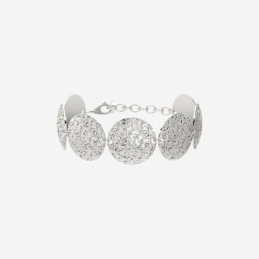 Bracciale donna Rebecca modello R-Zero placcato con cerchi medi diamantati e bombati. Chiusura con moschettone.