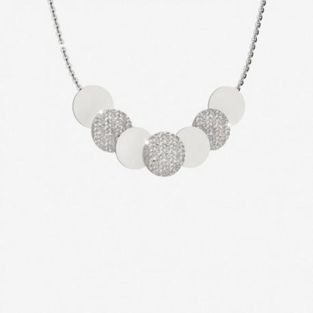 Collana donna Rebecca modello R-Zero  con cerchi diamantati e lisci - 42-49 cm