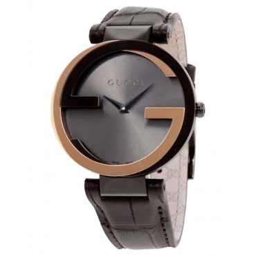 OROLOGIO Gucci Interlocking-G Black Dial Brown Leather Ladies Watch