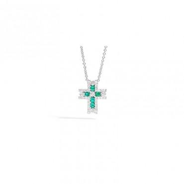 Collana Recarlo Croce con Diamanti e Smeraldi Collezione Decò SA 0,23 SB 0,26 S 0,25