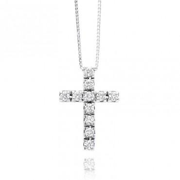 Collana Recarlo Croce con Diamanti Collezione Face Cube 0,45 Ct