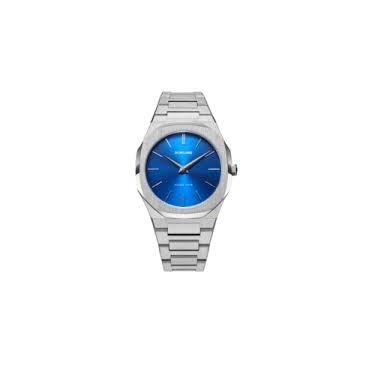 Orologio Uomo Donna Unisex D1 Milano Geo Ultra Thin Bracelet 40mm cassa Argento quadrante Blu cinturino in Acciaio D1-UTBJ09