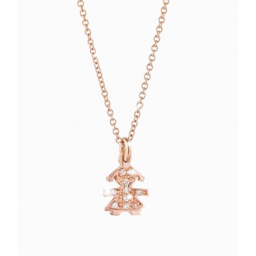 Ciondolo bimba oro rosa con pavé di diamanti ct 0,03.Catena maglia rolò regolabile in lunghezza con moschettone logato. Collezi
