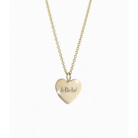 Collana in Oro Giallo, Cuore con Incisione Le Bebè Collezione Le Coccole Pendenti I Classici