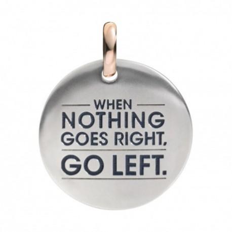 "Moneta Queriot ""When Nothing Goes Right. Go Left."" in Argento, Oro Rosa 9 Kt e Smalto Color Blu Pavone."